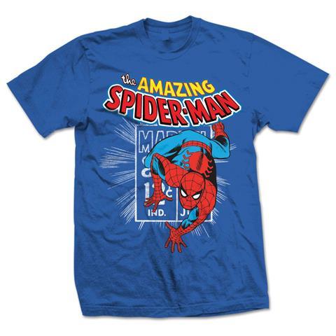 ROCK OFF Marvel Comics - Spidey Stamp Blu (T-Shirt Unisex Tg. M)