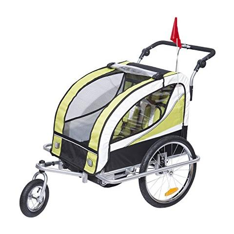 HOMCOM - Rimorchio porta-bimbo 2 in 1 per bicicletta jogging rotazione a  360° verde 106 x 90 x 105cm ff28c2360351