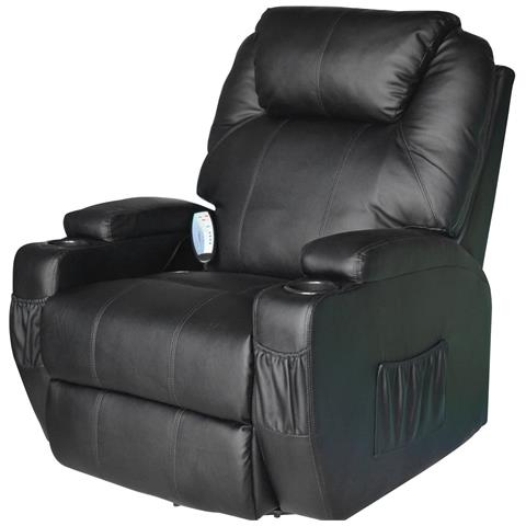 HomCom Poltrona Massaggiante Riscaldabile In Ecopelle, Nero, 84x92x109cm