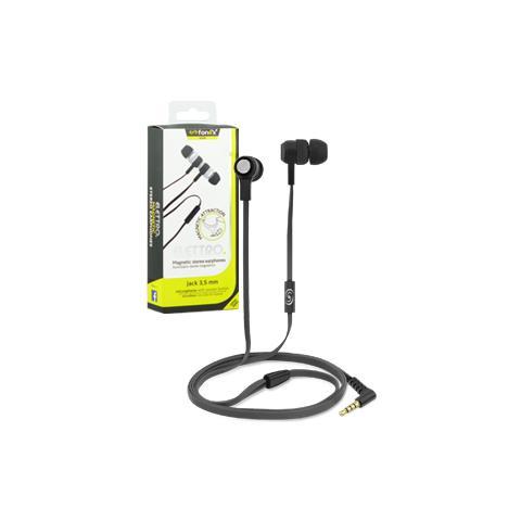 FONEX Elettro Auricolare Stereo Jack 3,5 mm con Microfono + Tasto di Risposta e Cavo Piatto Anti-Groviglio Colore Nero