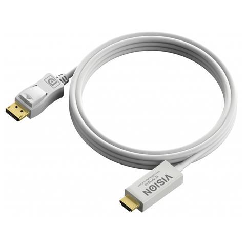 VISION DisplayPort - HDMI, 4m DisplayPort HDMI Bianco cavo di interfaccia e adattatore