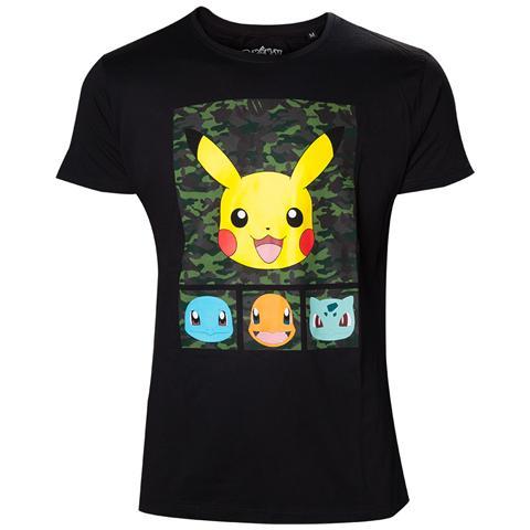 BIOWORLD Pokemon - Pikachu and Friends Camo (T-Shirt Unisex Tg. M)