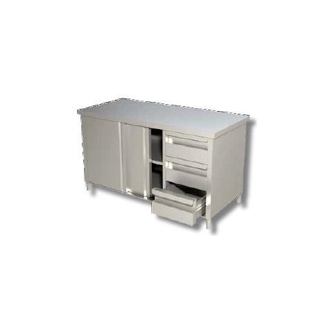 Tavolo 150x60x90 Acciaio Inox 430 Armadiato Cassetti Ristorante Pizzeria Rs6484