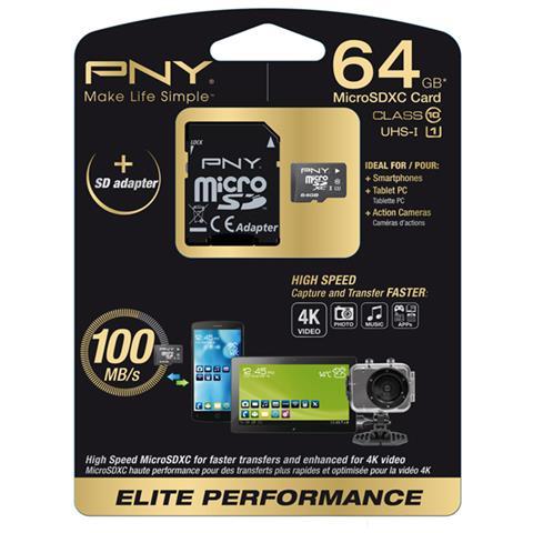 PNY MicroSD 64 GB Elite Performance Classe 10 fino a 100MB / S di Velocità