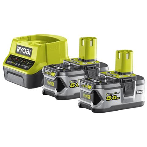 Confezione 2 Batterie Ryobi 18v Oneplus 5.0ah Lithiumplus - 1 Caricabatterie Rapido 2.0ah Rc18120-250