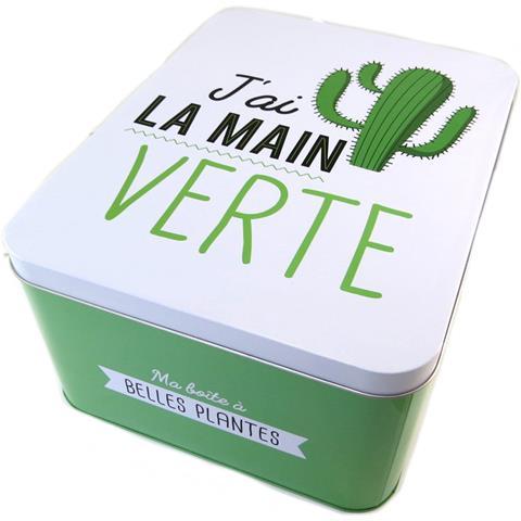 scatola di metallo 'ho il pollice verde' verde bianco - 31x24x15 cm - [ p1433]