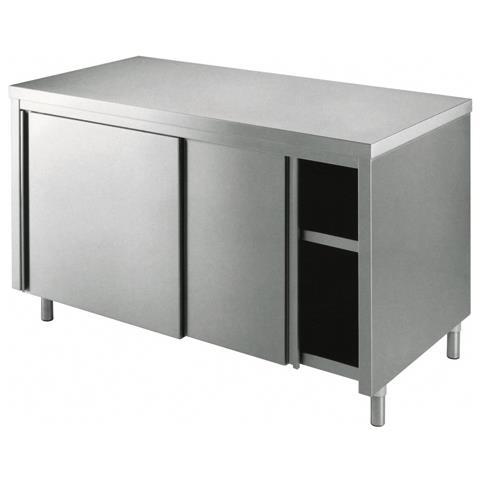 Tavolo 110x80x90 Acciaio Inox 430 Armadiato Cucina Ristorante Pizzeria Rs6382
