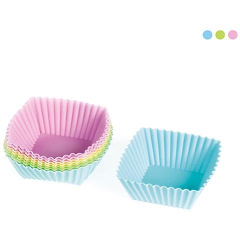 Habi Set 3 Confezioni 8 Pirottini Silicone Quadrato Pastel Cm7x7 Pasticceria