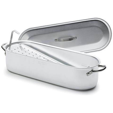 Pescera In Alluminio Con Griglia, Coperchio E Maniglie In Acciaio Inox