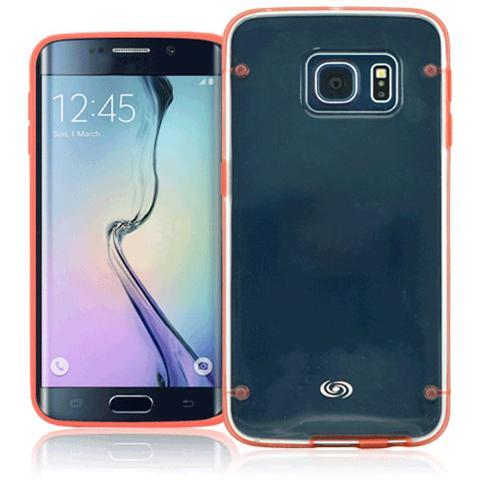 FONEX Mellow Cover in Morbido TPU per Galaxy S6 Edge Colore Trasparente / Rosso