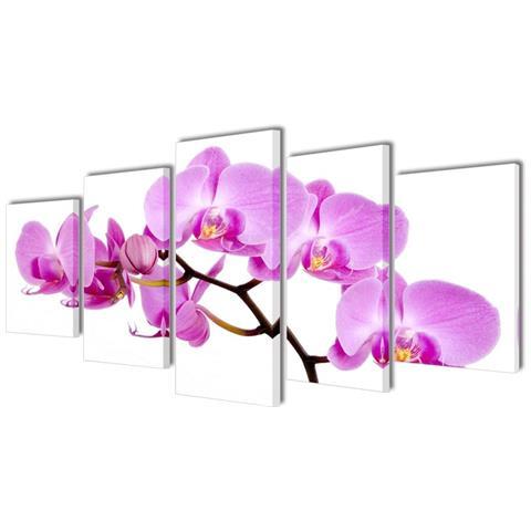 vidaXL 5 Pz Set Stampa Su Tela Da Muro Orchidèa 100 X 50 Cm