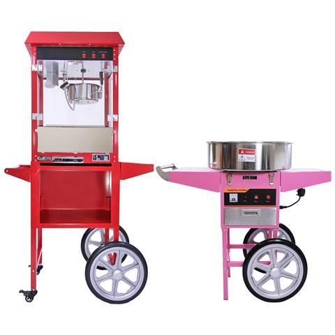 Macchine Popcorn E Zucchero Filato Con Carrelli