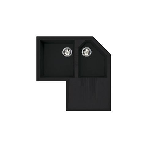 Lavello LZ830N ad Angolo 2 Vasche con Gocciolatoio Dimensioni 83 x 83 cm Colore Nero Serie Rigae