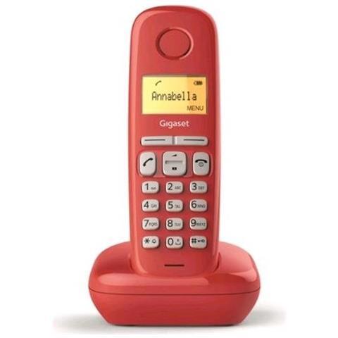 Gigaset Telefono Cordless A170 DECT 50 Numeri Colore Rosso - Italia