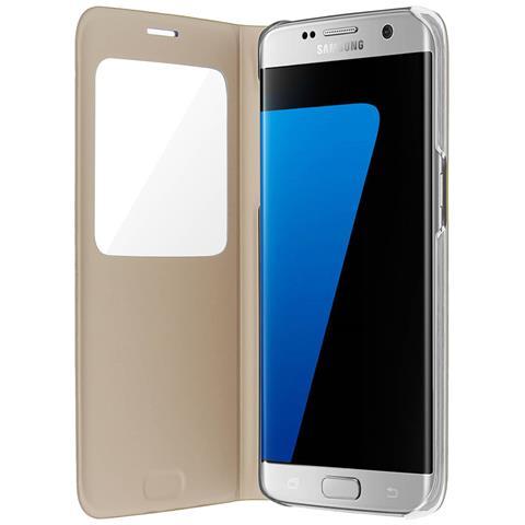 SAMSUNG Custodia Con Finestra Intelligente Originale Samsung Galaxy S7 Edge - Oro