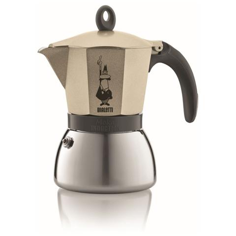 Caffettiera Moka 3 Tazze - Modello Light Gold Induction Colore Gold