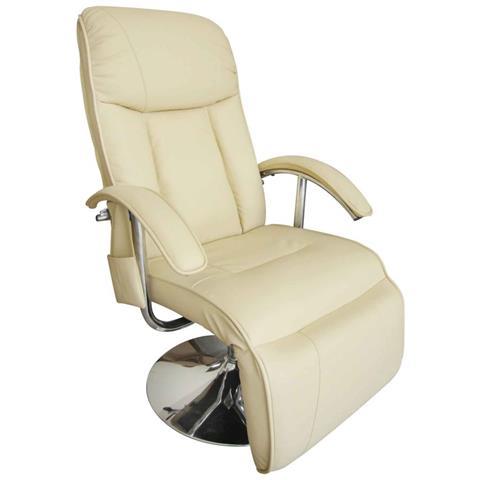 vidaXL Poltrona Relax Massaggiante Reclinabile Elettrica Bianco Crema