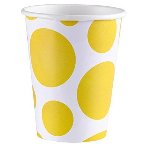 Solid Colour Dots Yellow - 8 Bicchieri 200ml