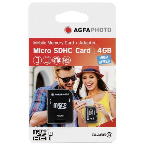 AGFAPHOTO MicroSDHC da 4GB High Speed Class 10 + adattatore
