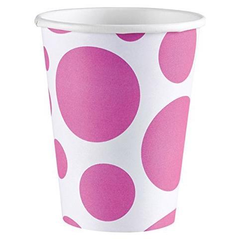 Solid Colour Dots Pink - 8 Bicchieri 200ml