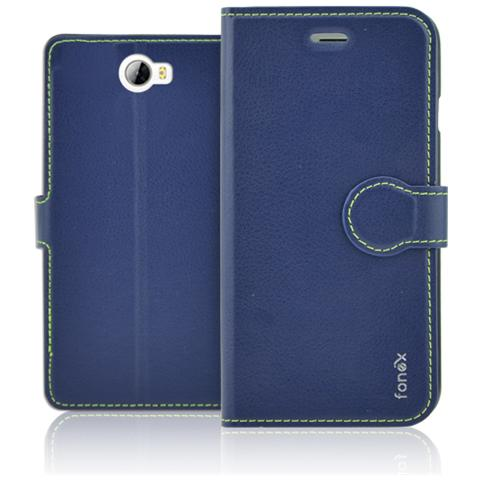 FONEX Identity Book Custodia a Libro per Huawei Y5 II / Y6 II Compact Colore Blu