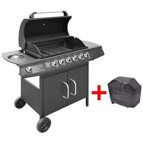 Barbecue E Griglia A Gas 6+1 Fuochi Nero