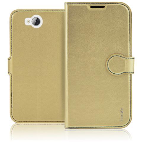 FONEX Identity Book Custodia a Libro per Huawei Y3 II Colore Oro