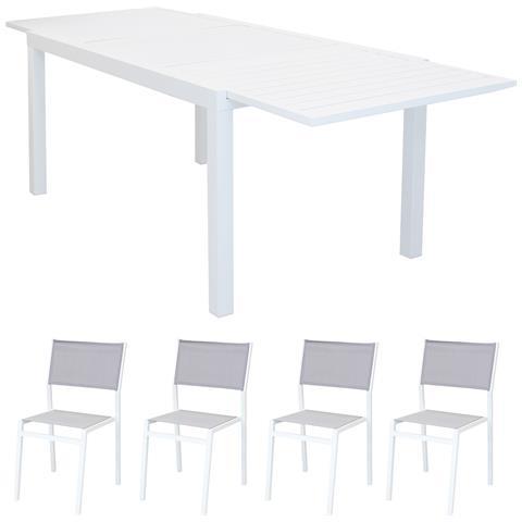 Set Tavolo Giardino Rettangolare Allungabile 160/240 X 90 Con 4 Sedie In Alluminio Bianco E Textilene Da Esterno