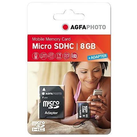 AGFAPHOTO MicroSDHC da 8 GB High Speed Class 10 + Adattatore