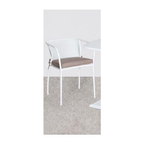 SEDIA in ACCIAIO BIANCO RETINATA Mod. SELENITE 50X47X68H cm con cuscino