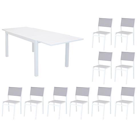 Set Tavolo Giardino Rettangolare Allungabile 200/300 X 100 Con 10 Sedie In Alluminio Bianco E Textilene Da Esterno