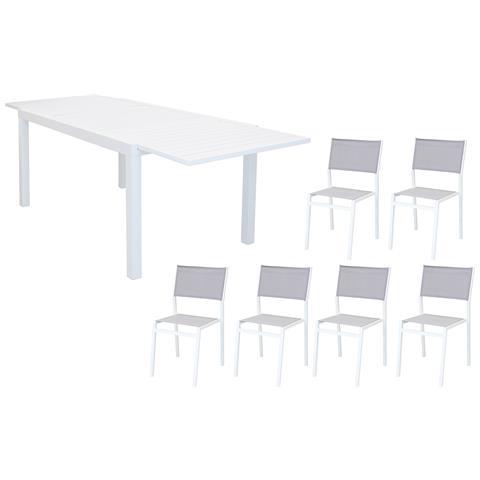 Set Tavolo Giardino Rettangolare Allungabile 200/300 X 100 Con 6 Sedie In Alluminio Bianco E Textilene Da Esterno