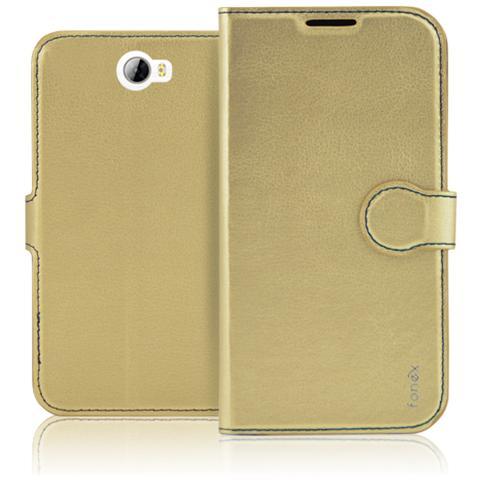 FONEX Identity Book Custodia a Libro per Huawei Y5 II / Y6 II Compact Colore Oro
