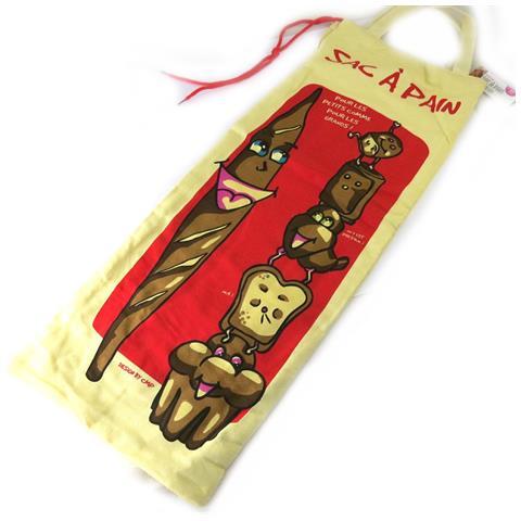 Les Trésors De Lily sacchetto di pane 'pain français' beige rosso (per le piccole come per le grandi) - [ m6115]