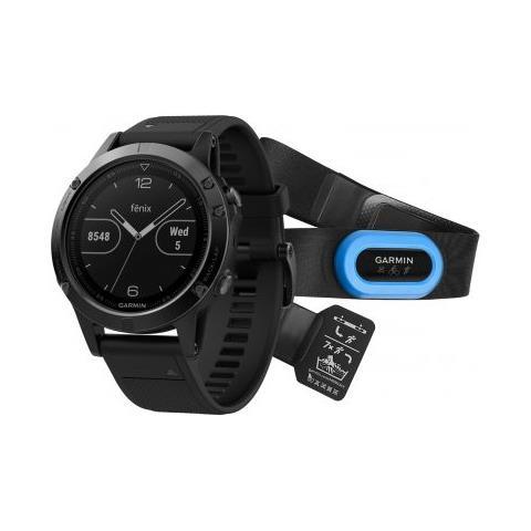 GARMIN Orologio Fenix 5 GPS con Misurazione Frequenza Cardiaca al Polso Cassa 47mm Colore Sapphire Nero + Fascia Cardio
