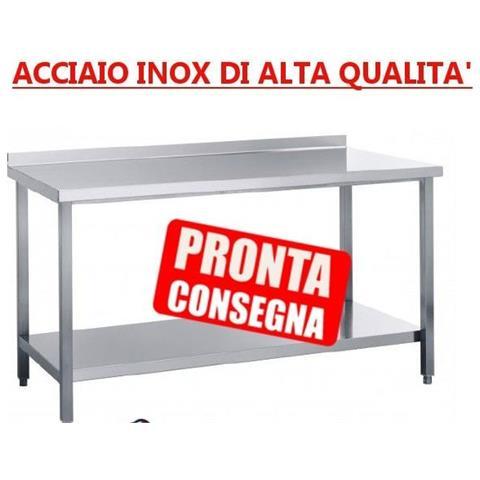 Tavolo In Acciaio Inox Su Gambe Con Ripiano Di Fondo Con Alzatina - Prof. 70