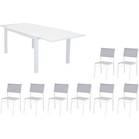 Set Tavolo Giardino Rettangolare Allungabile 200/300 X 100 Con 8 Sedie In Alluminio Bianco E Textilene Da Esterno