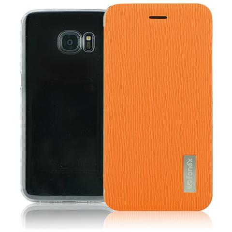 FONEX Crystal Slim Custodia a Libro con Back Trasparente per Galaxy S7 Edge Colore Arancio