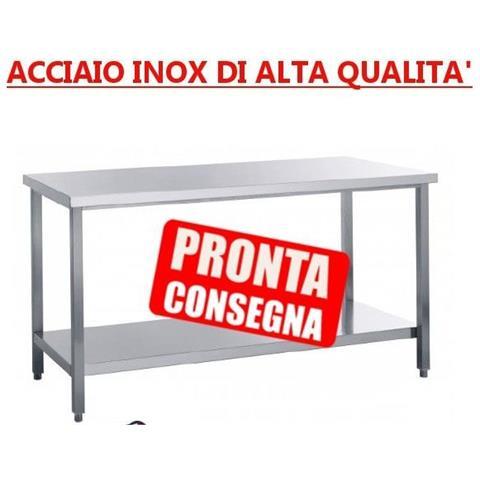 Tavolo In Acciaio Inox Su Gambe Con Ripiano Di Fondo Senza Alzatina - Prof. 70