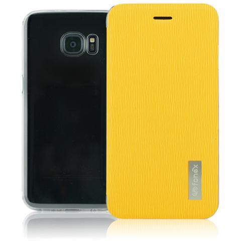 FONEX Crystal Slim Custodia a Libro con Back Trasparente per Galaxy S7 Colore Giallo