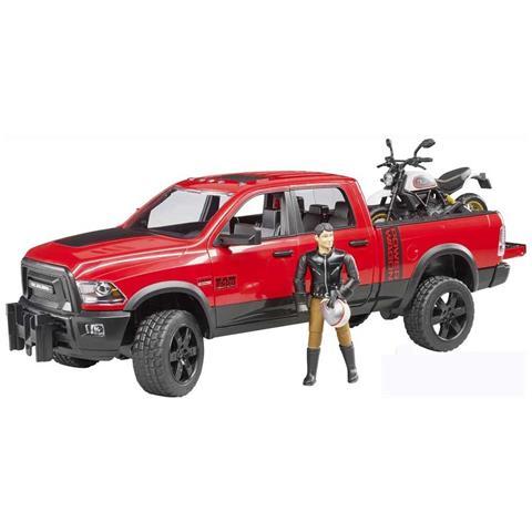 PLAYMATES -02502-veicolo Ram 2500power Wagon Con Moto Scrambler Ducati Desert Sled E Personaggio