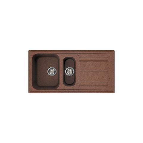 Lavello LZ102RA 1 Vasca e 1 Vaschino Dimensioni 100 x 50 cm Colore Rame Serie Rigae