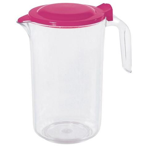 COSMOPLAST Caraffa in Plastica con Coperchio Rosa 1.5 litri