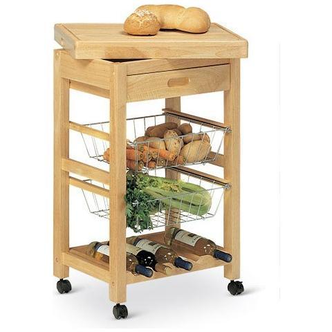 Bianco Carrello Da Cucina Malibu In Legno Tinto Naturale Con Cestelli In Metallo, Ruote E Portabottiglie Cod. 03709
