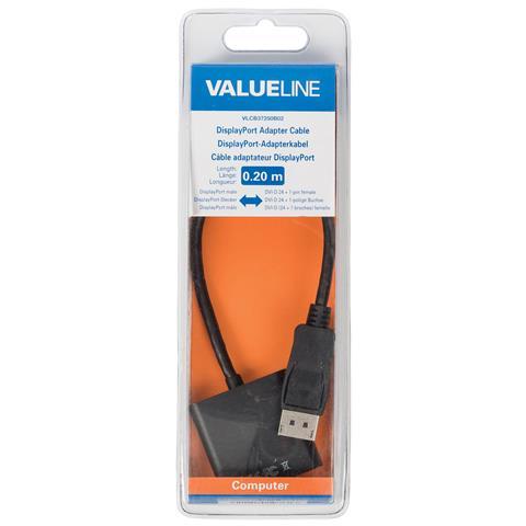 VALUELINE VLCB37250B02, DisplayPort, DVI-D, Maschio, Femmina, Nero, Cloruro di polivinile (PVC)