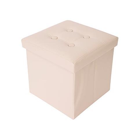 Mobili Rebecca Puff Sgabello Contenitore Cubo Design Beige Arredamento Moderno