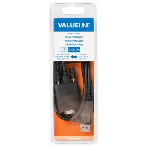VALUELINE VLCB37300B20, DisplayPort, VGA (D-Sub) , Maschio, Maschio, Nero, Cloruro di polivinile (PVC)
