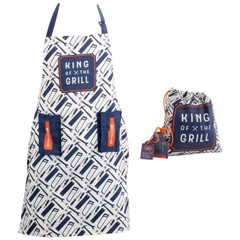 The Hardware Store Grembiule Da Cucina 'king Of The Grill ' (taglia Unica) (bianco / blu)