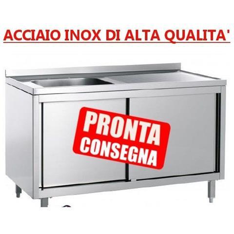 Lavatoio 1 Vasca Chiuso In Acciaio Inox Con Ante Scorrevoli Con Alzatina - Prof. 70