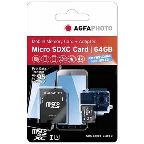 AGFAPHOTO MicroSDXC UHS-I da 64GB + adattatore